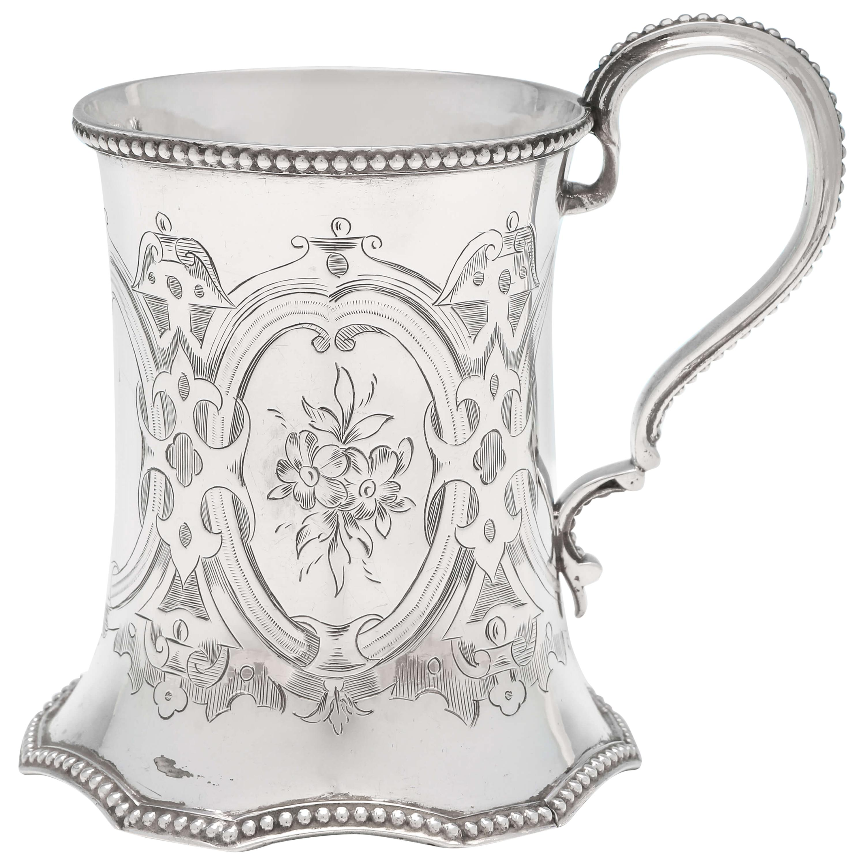 19th Century Victorian Sterling Silver Christening Mug by Robert Hennell II 1858