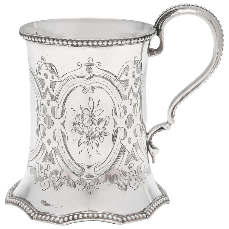 19th Century Victorian Sterling Silver Christening Mug by Robert Hennell II 1858 For Sale