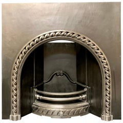 19th Century Victorian Style Arched Highlighted Cast Iron Fireplace Insert