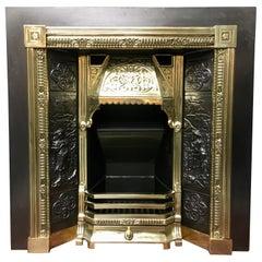 19th Century Victorian Style Cast Iron & Brass Fireplace Surround Insert & Grate