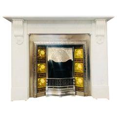 19th Century Victorian Style Corbel Carrara Marble Fireplace Surround