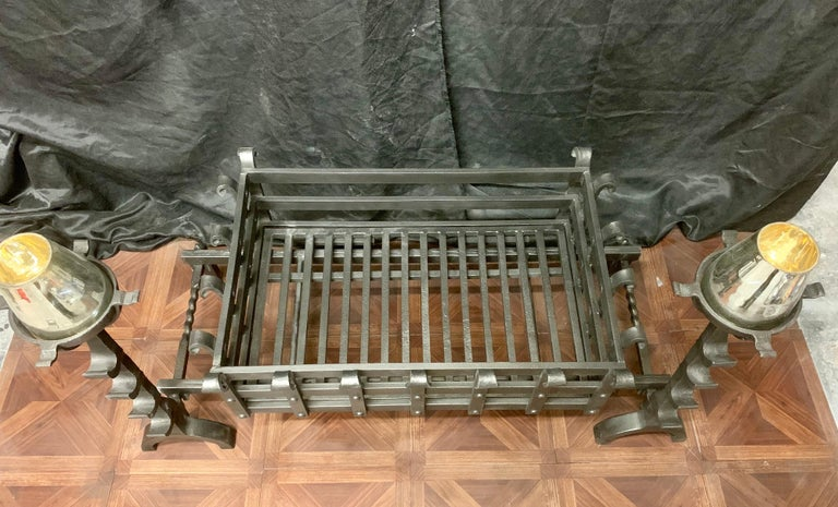 Scottish 19th Century Victorian Style Wrought Iron Fireplace Grate For Sale