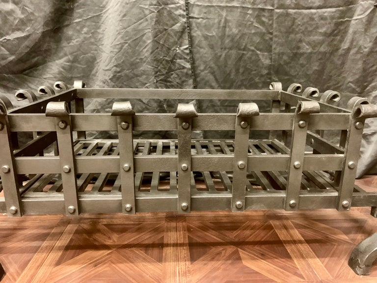 19th Century Victorian Style Wrought Iron Fireplace Grate For Sale 1