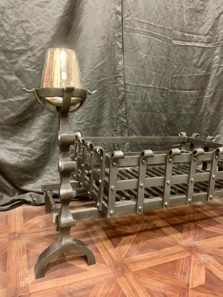 19th Century Victorian Style Wrought Iron Fireplace Grate For Sale 2