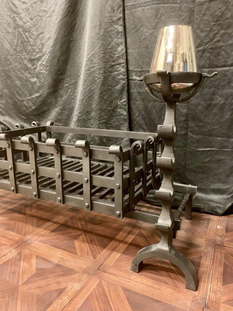 19th Century Victorian Style Wrought Iron Fireplace Grate For Sale 3