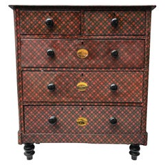 19th Century Victorian Tartanware Painted Black and Decoupage Chest of Drawers
