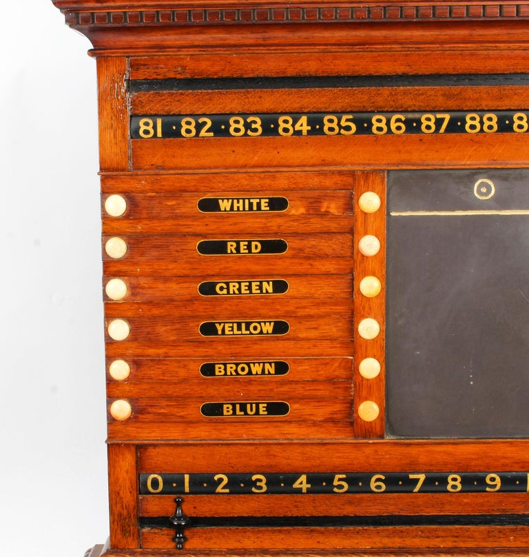English 19th Century Victorian Thurston Billiard Snooker and Life Pool Scoreboard For Sale