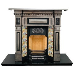 19th Century Victorian Tiled Cast-Iron Combination Fireplace