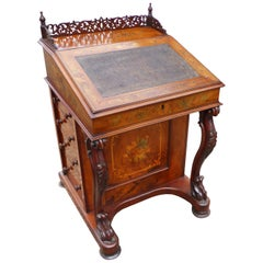 19th Century Victorian Walnut and Marquetry Davenport