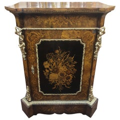 19th Century English Victorian Walnut Bronze Inlaid Pier Cabinet, 1850