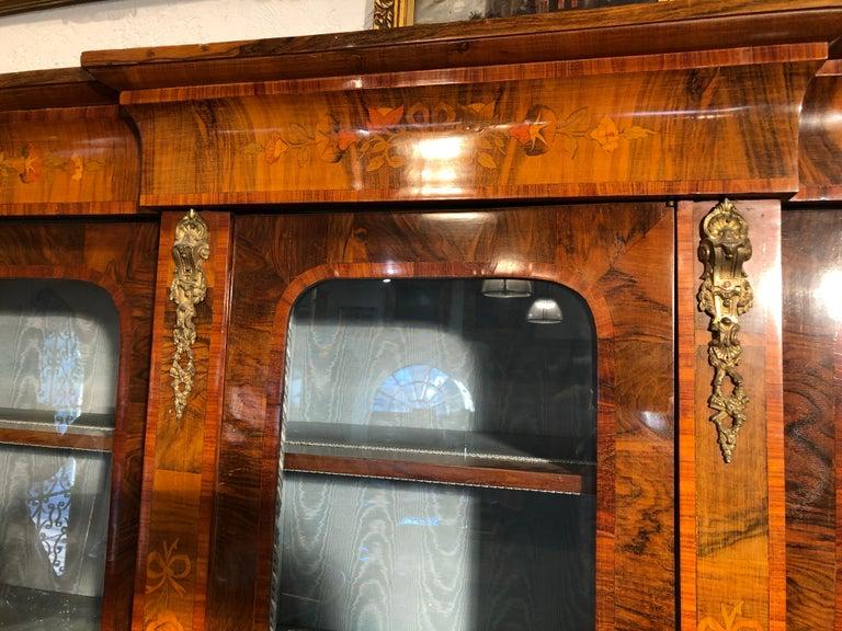 19th Century Victorian Walnut England Bookcase Vitrines,1860s For Sale 4