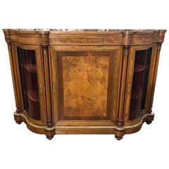19th Century Victorian Walnut England Cabinet Serpentine ,1860s
