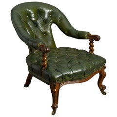 19th Century Victorian Walnut and Green Leather Club Easy Chair