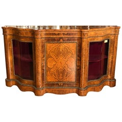 19th Century Victorian Walnut Inlaid English Sideboard Vitrines, 1860s