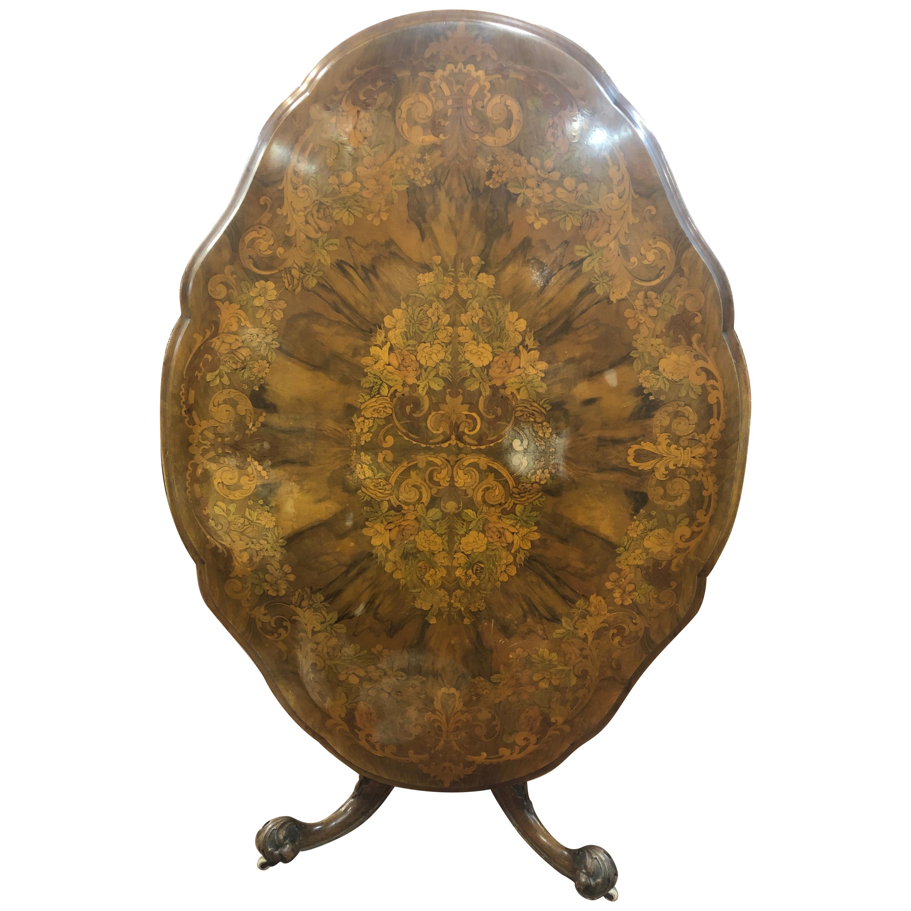 19th Century Victorian Walnut Marquetry Center Table, 1850s