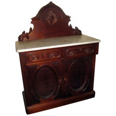19th century Victorian Walnut Server Sideboard with Marble Top