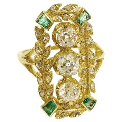 19th Century Victorian 18k Yellow Gold, Diamonds and Emeralds Cocktail Ring