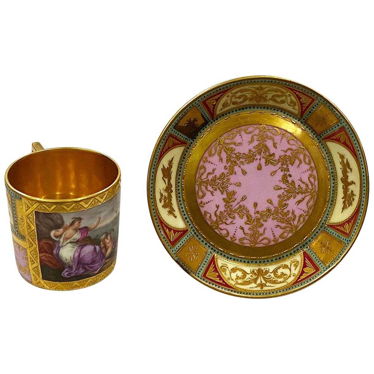 19th Century Vienna Porcelain Cup and Saucer