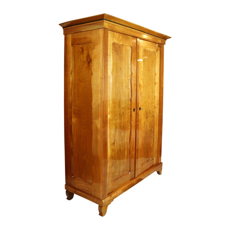 19th Century Viennese Biedermeier Cherrywood Wardrobe In Good Condition For Sale In Darmstadt, DE
