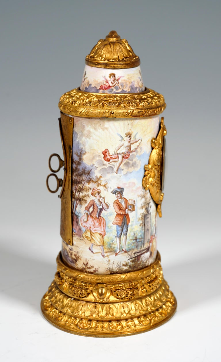 Austrian 19th Century Viennese Enamel Table Clock with Fire-Gilding and Watteau Painting For Sale