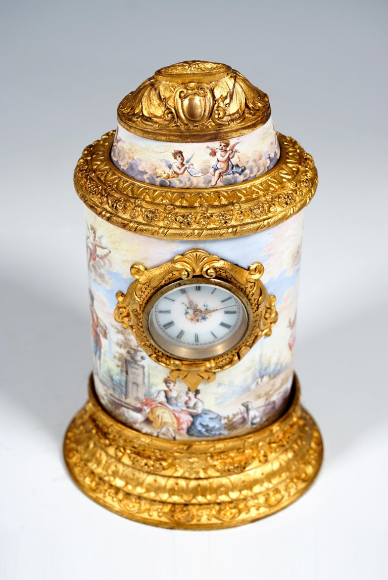 Enameled 19th Century Viennese Enamel Table Clock with Fire-Gilding and Watteau Painting For Sale