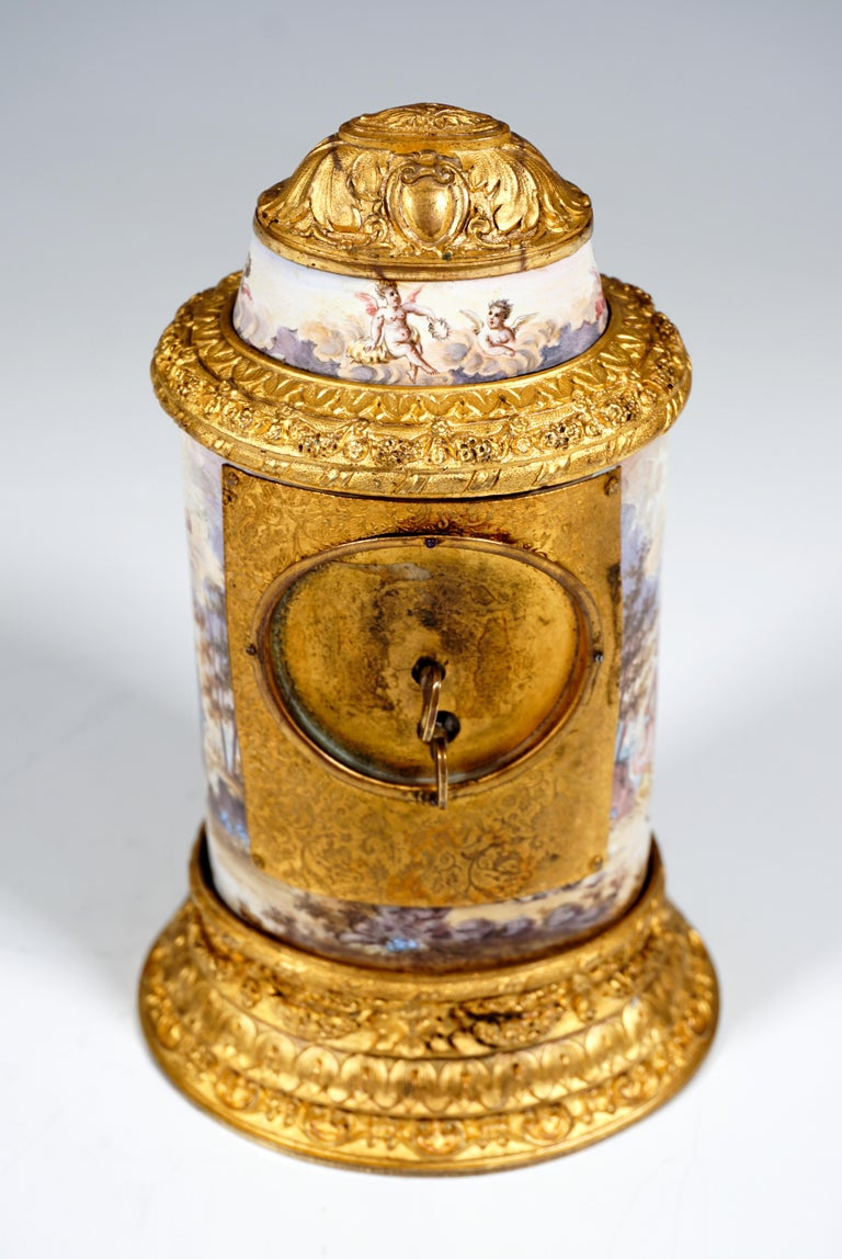 Late 19th Century 19th Century Viennese Enamel Table Clock with Fire-Gilding and Watteau Painting For Sale
