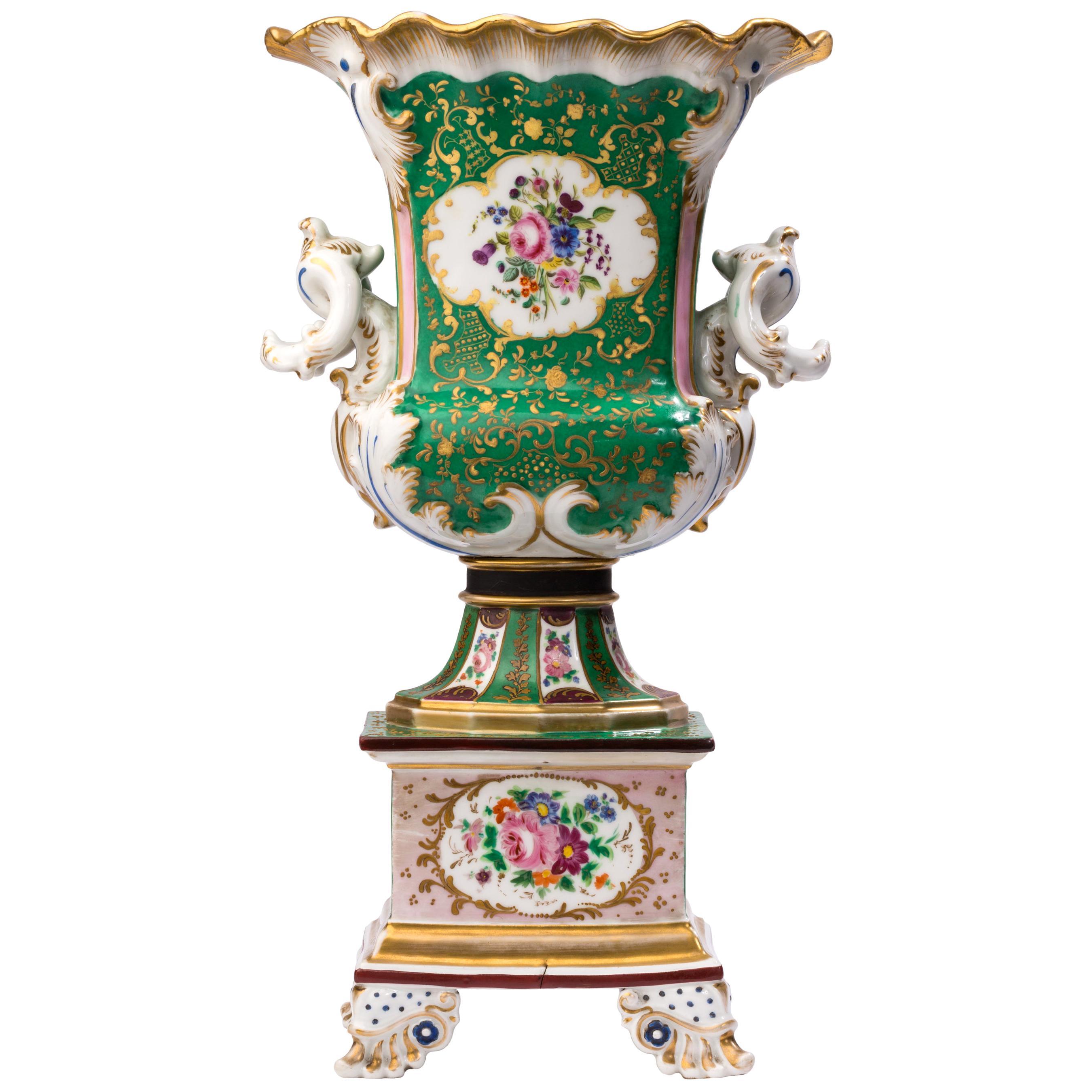 19th Century Vieux Paris / Old Paris Porcelain Urn with Raised Gilt Detailing