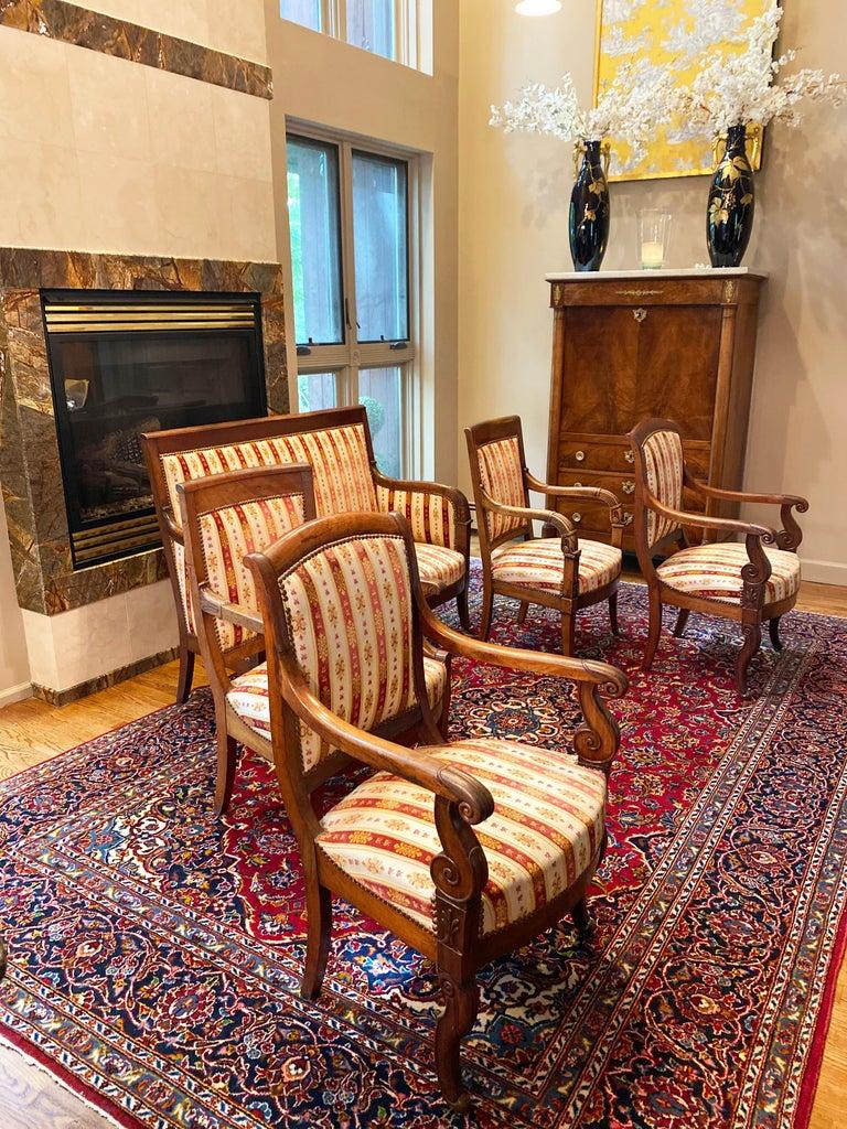 19th Century Vintage Empire Mahogany Salon, Set of 5 For Sale 1
