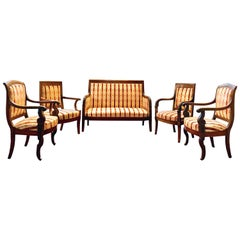 19th Century Vintage Empire Mahogany Salon, Set of 5