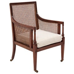 19th Century Vintage French Bergère Mahogany Gentleman's Library Armchair