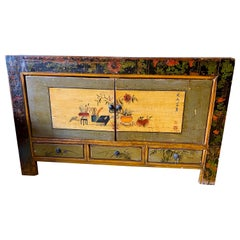 19th Century Vintage Mongolian Hand Painted Cabinet