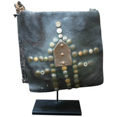 19th Century Vintage Moroccan Leather Water Carrier Bag on a Stand