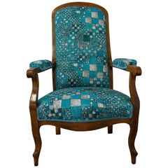 19th Century Voltaire Armchair French Louis Philippe Fauteuil Re-Upholstered