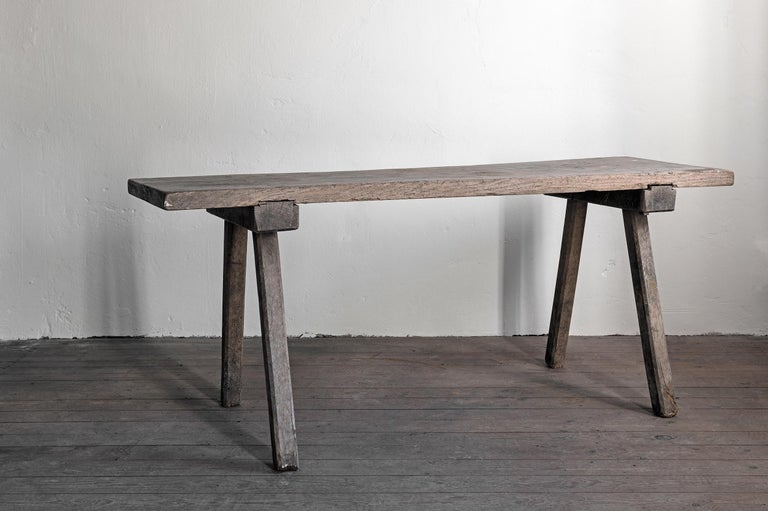 A 19th century Swedish farmhouse table, oak. Wabi Sabi.