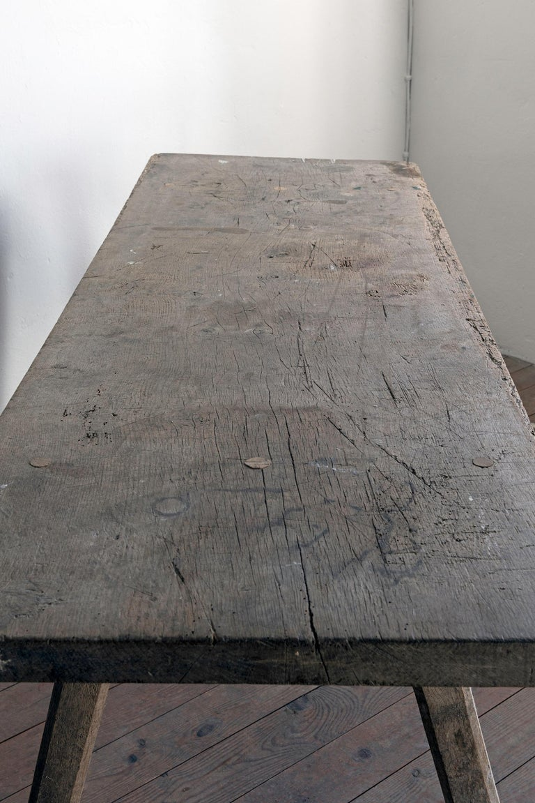 Swedish 19th Century Wabi Sabi Farmhouse Table For Sale