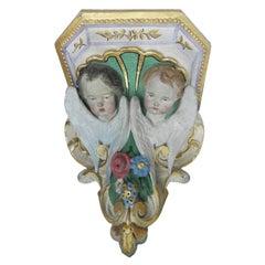 19th Century Wall Bracket Shelf Cherubs Angels Plaster, French