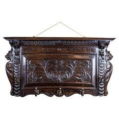 19th Century Wall-Mounted Oak Coat Rack in Dark Brown