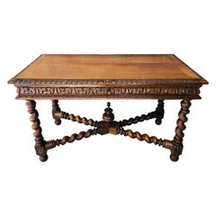 19th Century Walnut and Wrought Iron Desk with Three Drawers with Turning Legs
