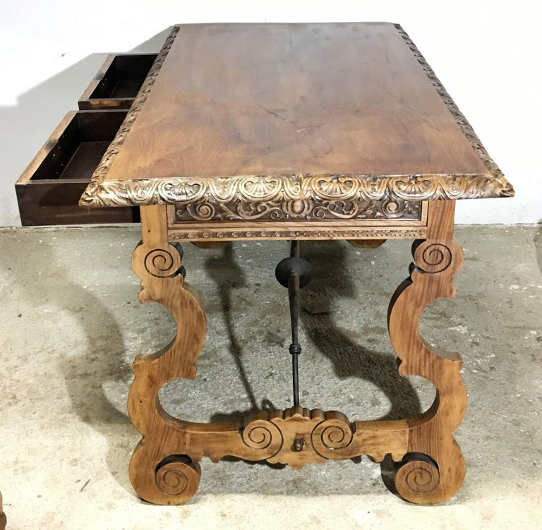 19th Century Walnut and Wrought Iron Desk with Two Drawers and Lyre Legs For Sale 3