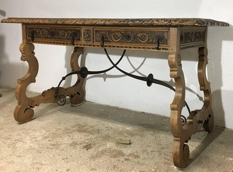 Spanish 19th Century Walnut and Wrought Iron Desk with Two Drawers and Lyre Legs For Sale