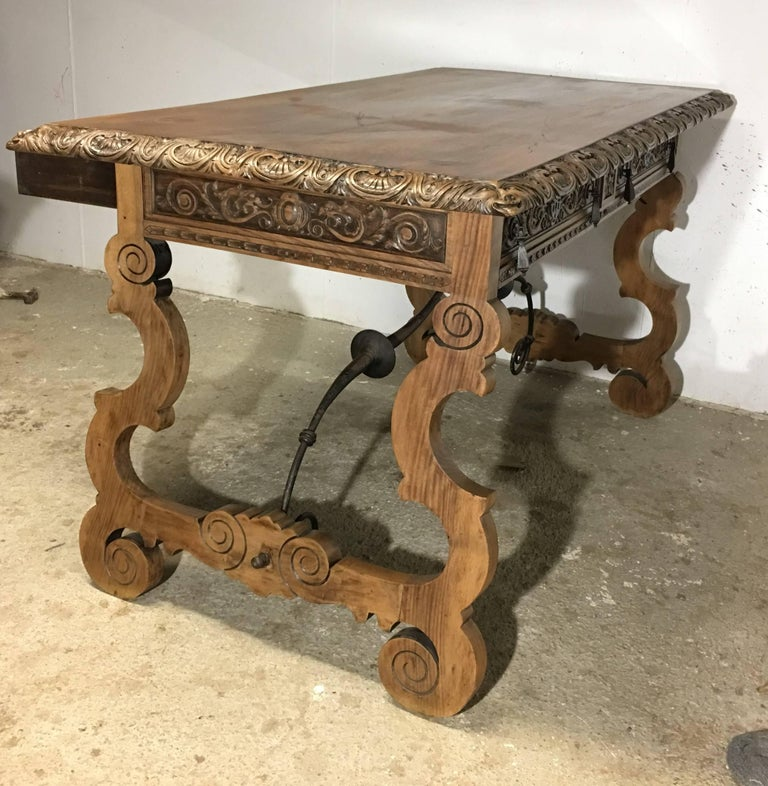 19th Century Walnut and Wrought Iron Desk with Two Drawers and Lyre Legs In Excellent Condition For Sale In Miami, FL