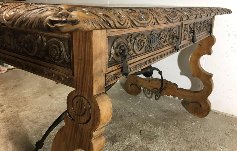 19th Century Walnut and Wrought Iron Desk with Two Drawers and Lyre Legs For Sale 1