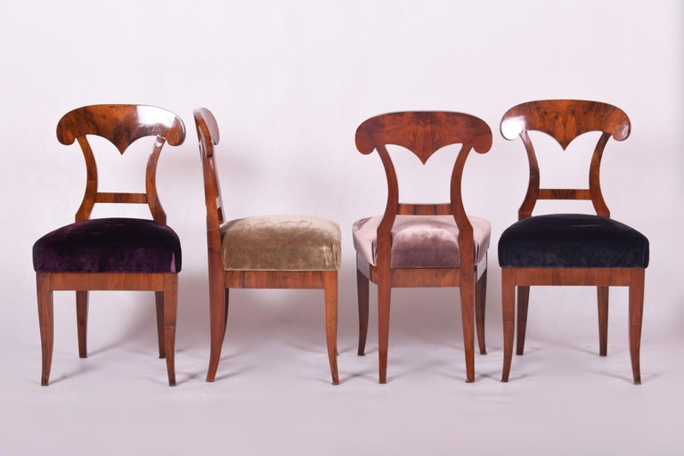 Set of Biedermeier chairs, four pieces. Completely restored, new fabric and upholstery included. Source: Czechia (Bohemia) Period: 1830-1839 Shellac-polish.