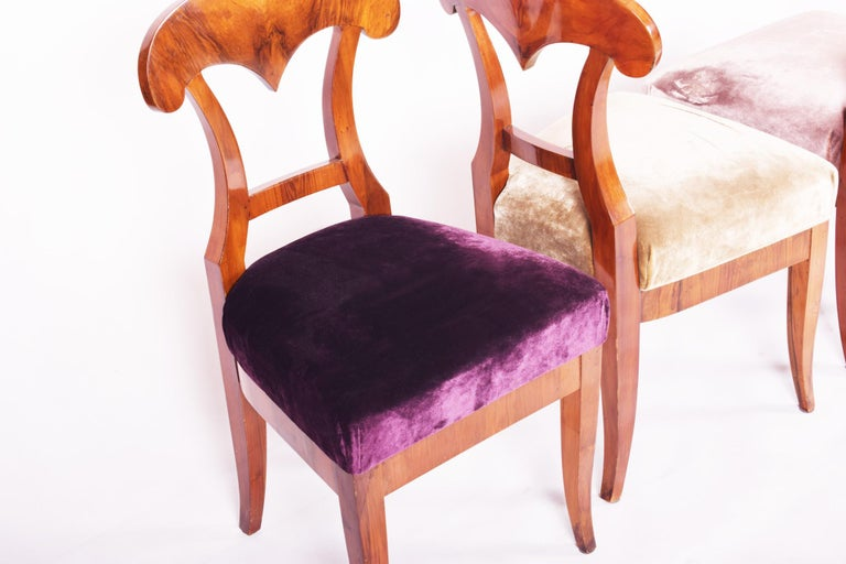 19th Century Walnut Austrian Biedermeier Chairs, 4 Pieces, 1830s, New Upholstery In Good Condition For Sale In Prague 1, CZ
