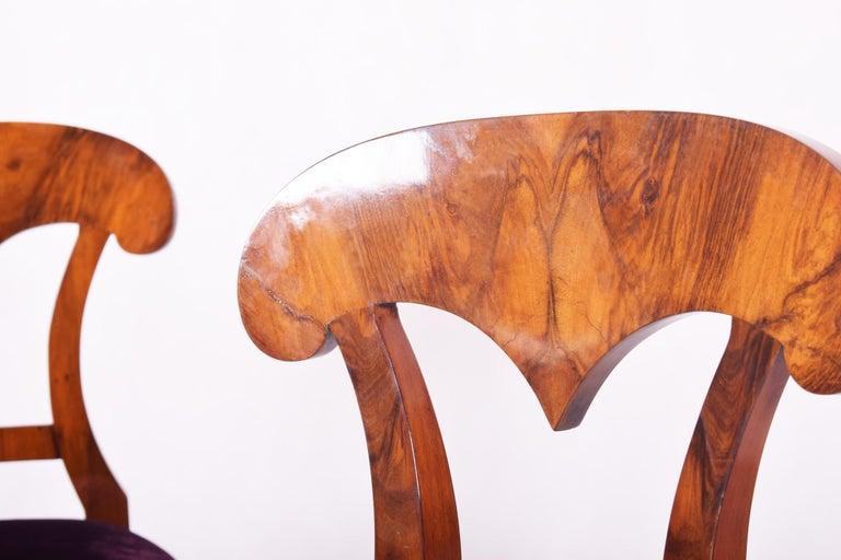 Fabric 19th Century Walnut Austrian Biedermeier Chairs, 4 Pieces, 1830s, New Upholstery For Sale