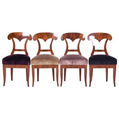 19th Century Walnut Austrian Biedermeier Chairs, 4 Pieces, 1830s, New Upholstery