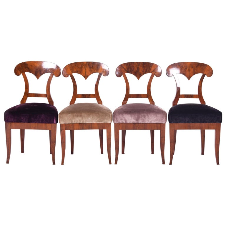 19th Century Walnut Austrian Biedermeier Chairs, 4 Pieces, 1830s, New Upholstery For Sale