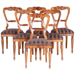 19th Century Walnut Biedermeier Chairs Set of 6 Pieces, 1830s, Austria, Vienna