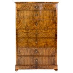 19th Century Walnut Biedermeier Chiffoniere / High Chest of Drawers