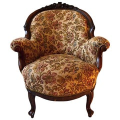 19th Century Walnut Carved Armchair Bergère